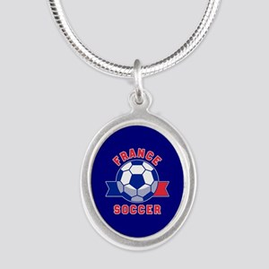 France Soccer Silver Oval Necklace