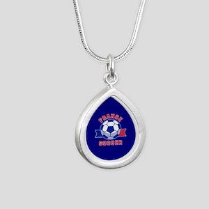 France Soccer Silver Teardrop Necklace