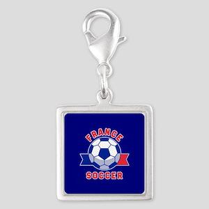 France Soccer Silver Square Charm