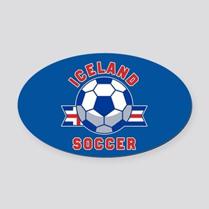 Iceland Soccer Oval Car Magnet