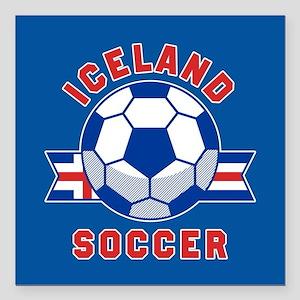 "Iceland Soccer Square Car Magnet 3"" x 3"""