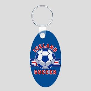 Iceland Soccer Aluminum Oval Keychain