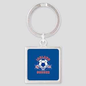 Iceland Soccer Square Keychain