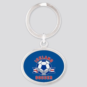 Iceland Soccer Oval Keychain