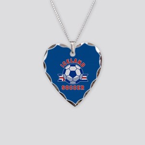 Iceland Soccer Necklace Heart Charm