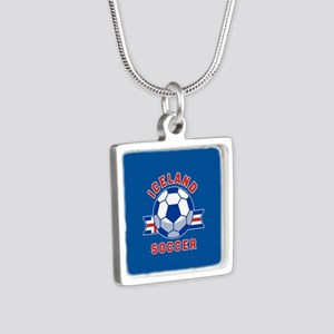 Iceland Soccer Silver Square Necklace