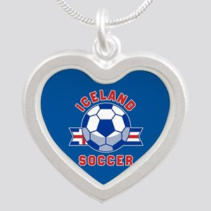Iceland Soccer Silver Heart Necklace