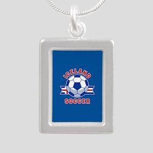 Iceland Soccer Silver Portrait Necklace