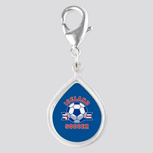 Iceland Soccer Silver Teardrop Charm