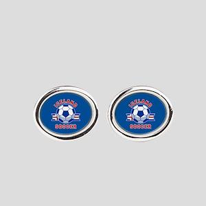 Iceland Soccer Oval Cufflinks