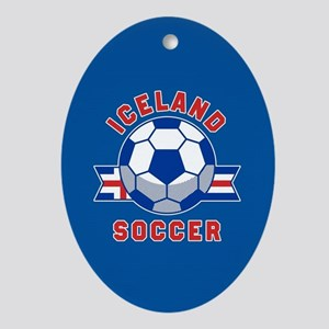 Iceland Soccer Oval Ornament