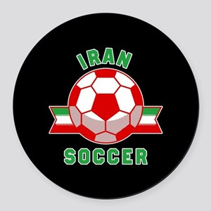 Iran Soccer Round Car Magnet