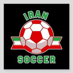 "Iran Soccer Square Car Magnet 3"" x 3"""