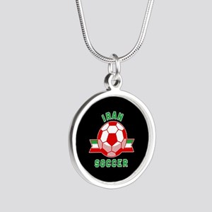 Iran Soccer Silver Round Necklace