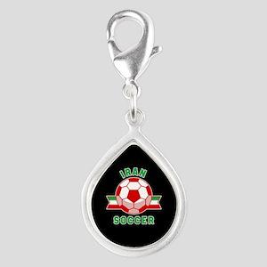 Iran Soccer Silver Teardrop Charm