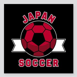 "Japan Soccer Square Car Magnet 3"" x 3"""