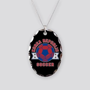 Korea Republic Soccer Necklace Oval Charm