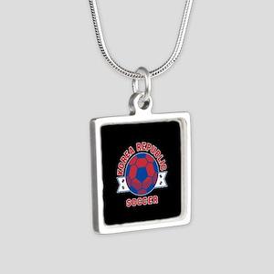 Korea Republic Soccer Silver Square Necklace