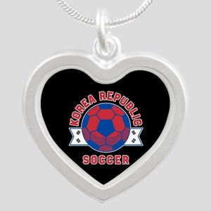 Korea Republic Soccer Silver Heart Necklace