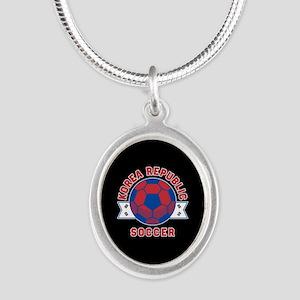 Korea Republic Soccer Silver Oval Necklace