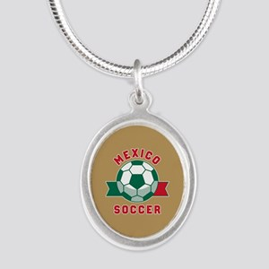 Mexico Soccer Silver Oval Necklace