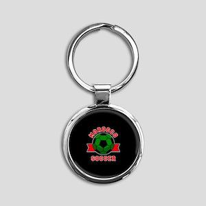 Morocco Soccer Round Keychain