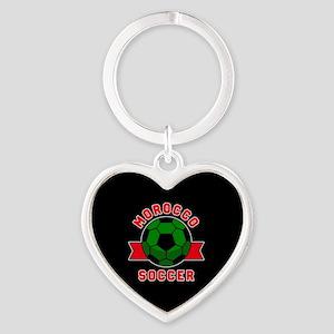 Morocco Soccer Heart Keychain