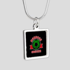 Morocco Soccer Silver Square Necklace