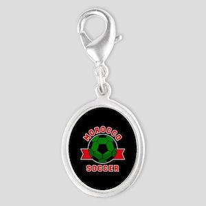 Morocco Soccer Silver Oval Charm