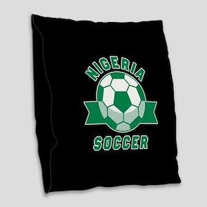 Nigeria Soccer Burlap Throw Pillow