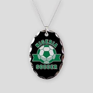 Nigeria Soccer Necklace Oval Charm