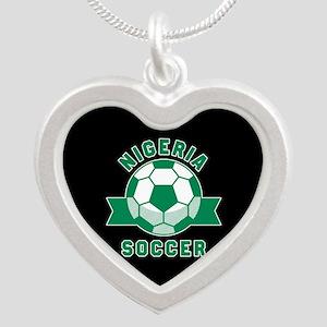 Nigeria Soccer Silver Heart Necklace