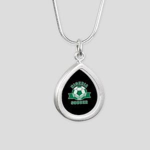 Nigeria Soccer Silver Teardrop Necklace