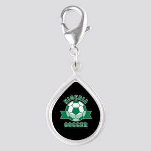 Nigeria Soccer Silver Teardrop Charm