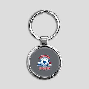 Panama Soccer Round Keychain