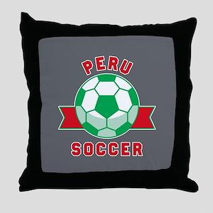 Peru Soccer Throw Pillow