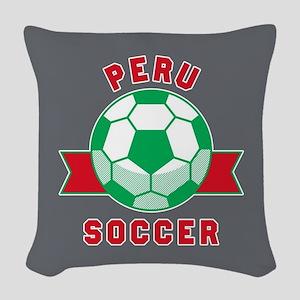 Peru Soccer Woven Throw Pillow