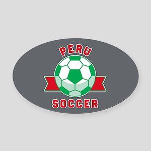 Peru Soccer Oval Car Magnet