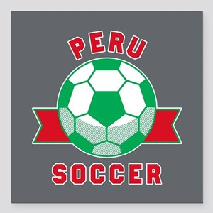"""Peru Soccer Square Car Magnet 3"""" x 3"""""""