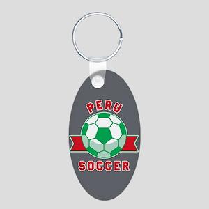 Peru Soccer Aluminum Oval Keychain