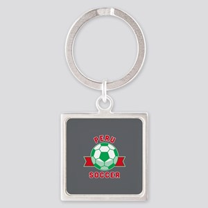 Peru Soccer Square Keychain