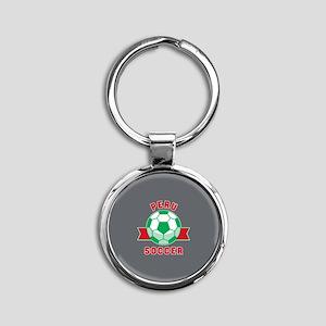 Peru Soccer Round Keychain