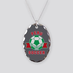 Peru Soccer Necklace Oval Charm
