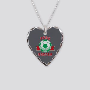 Peru Soccer Necklace Heart Charm