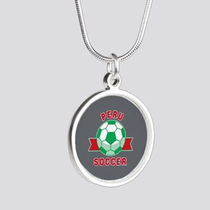 Peru Soccer Silver Round Necklace