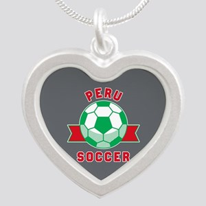 Peru Soccer Silver Heart Necklace