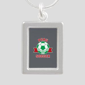 Peru Soccer Silver Portrait Necklace
