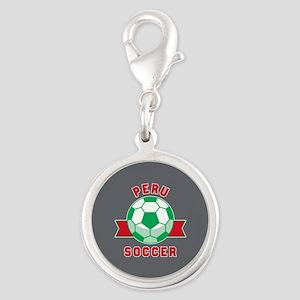 Peru Soccer Silver Round Charm