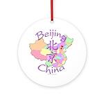 Beijing China Map Ornament (Round)