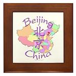 Beijing China Map Framed Tile